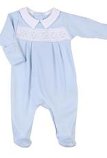 Magnolia Baby Elena & Elia's Smocked Collared Boys Footie - Blue