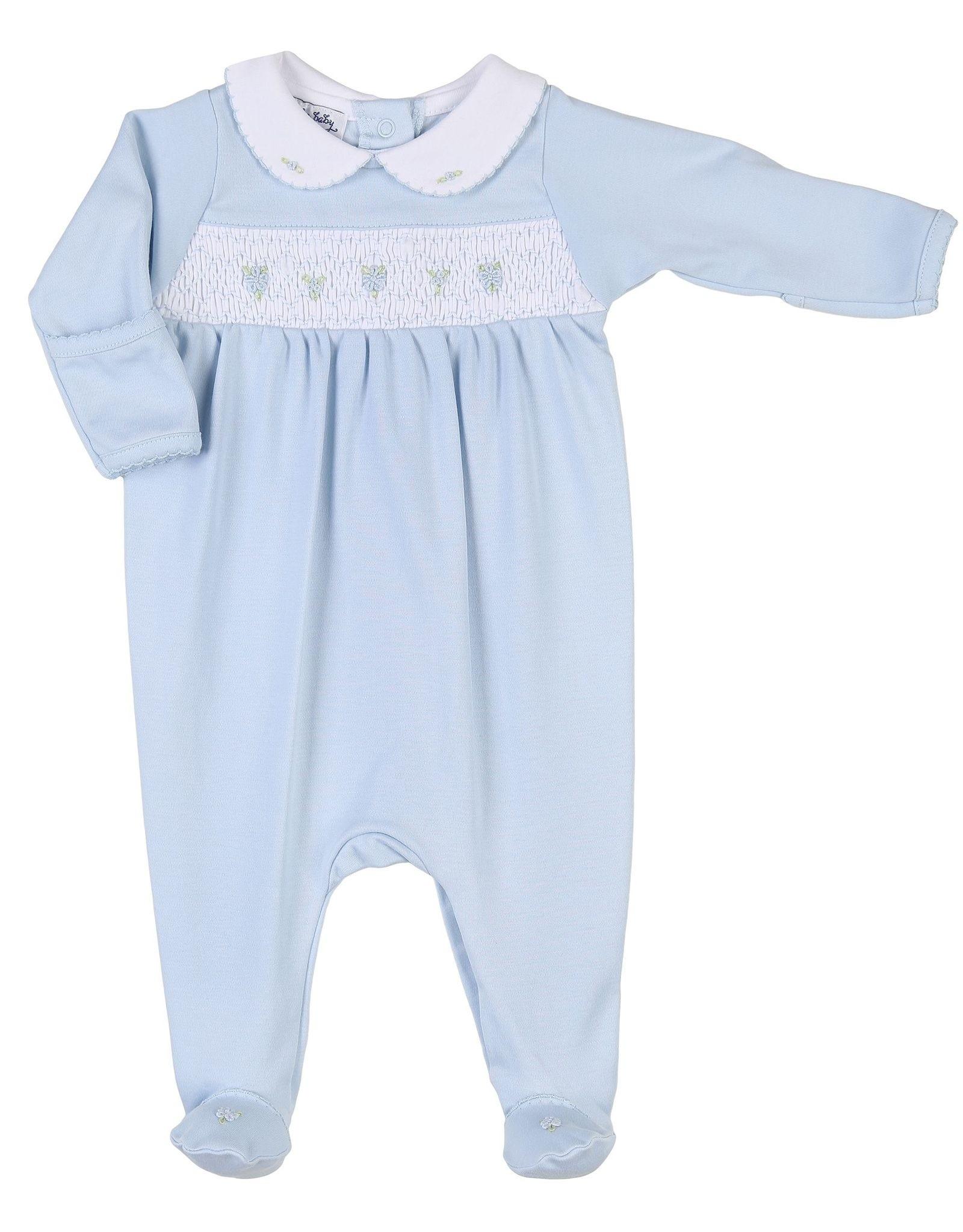 Magnolia Baby Elena & Elia's Smocked Collared Girls Footie - Blue