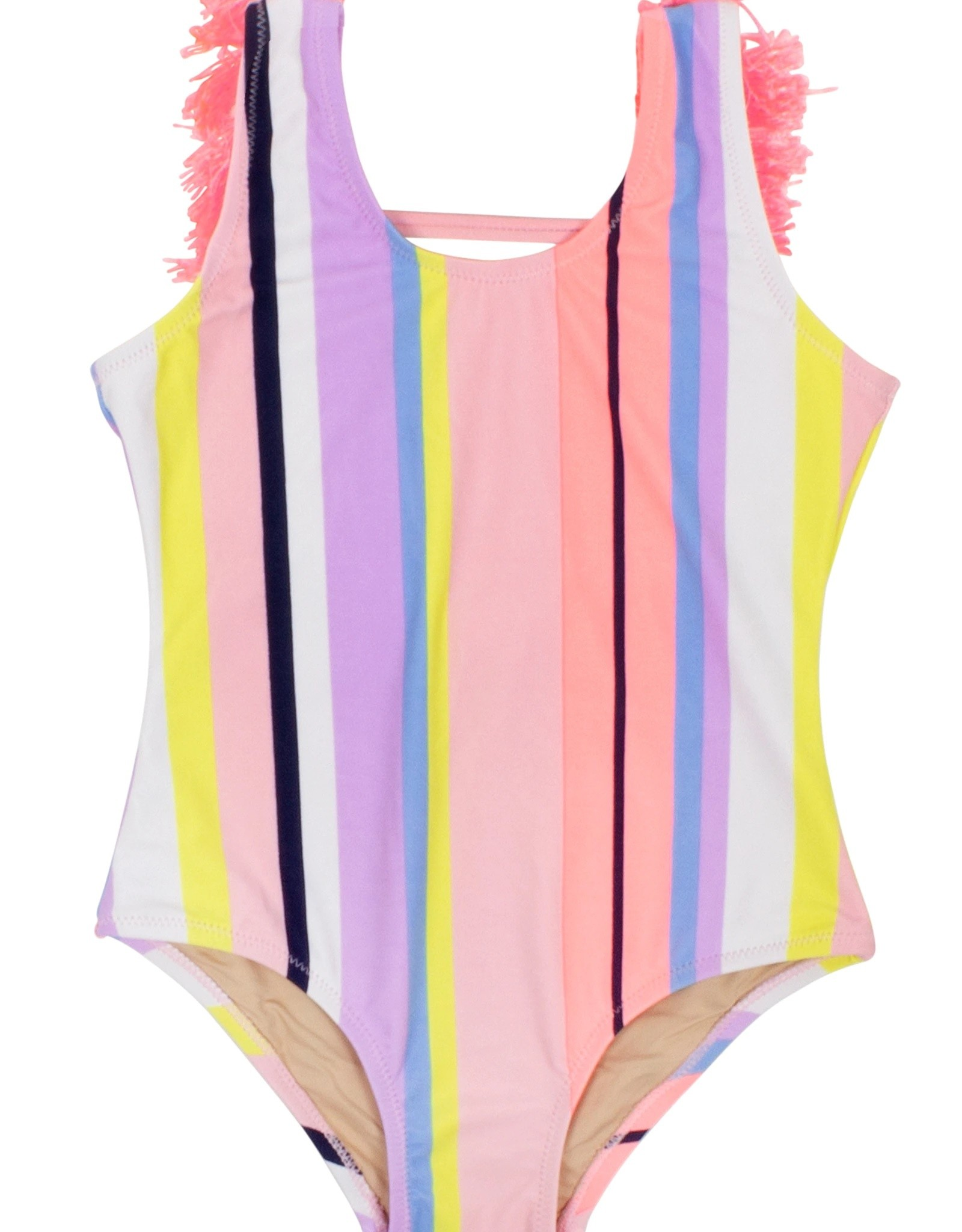 Shade Critters Fringe Back Coral Stripe One Piece Suit
