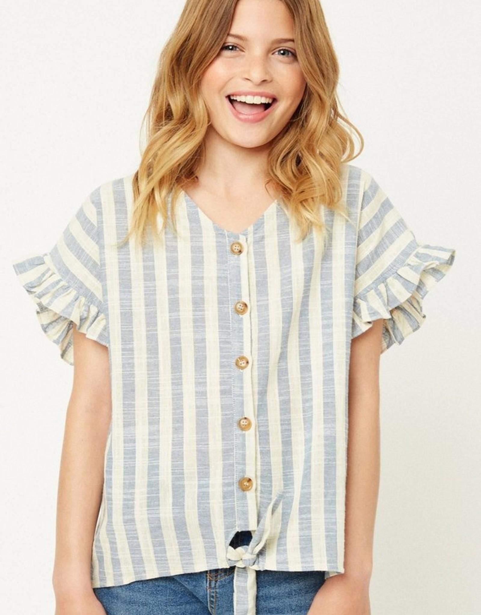 Hayden Los Angeles Girls Stripe Linen Button Down Top Blue