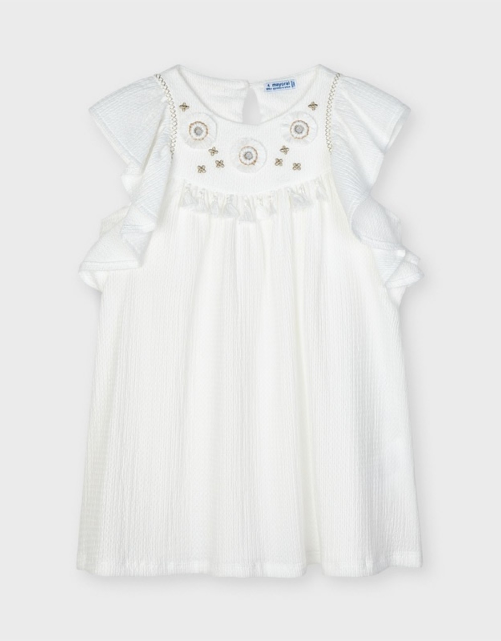 Mayoral Embroidered Applique Dress White