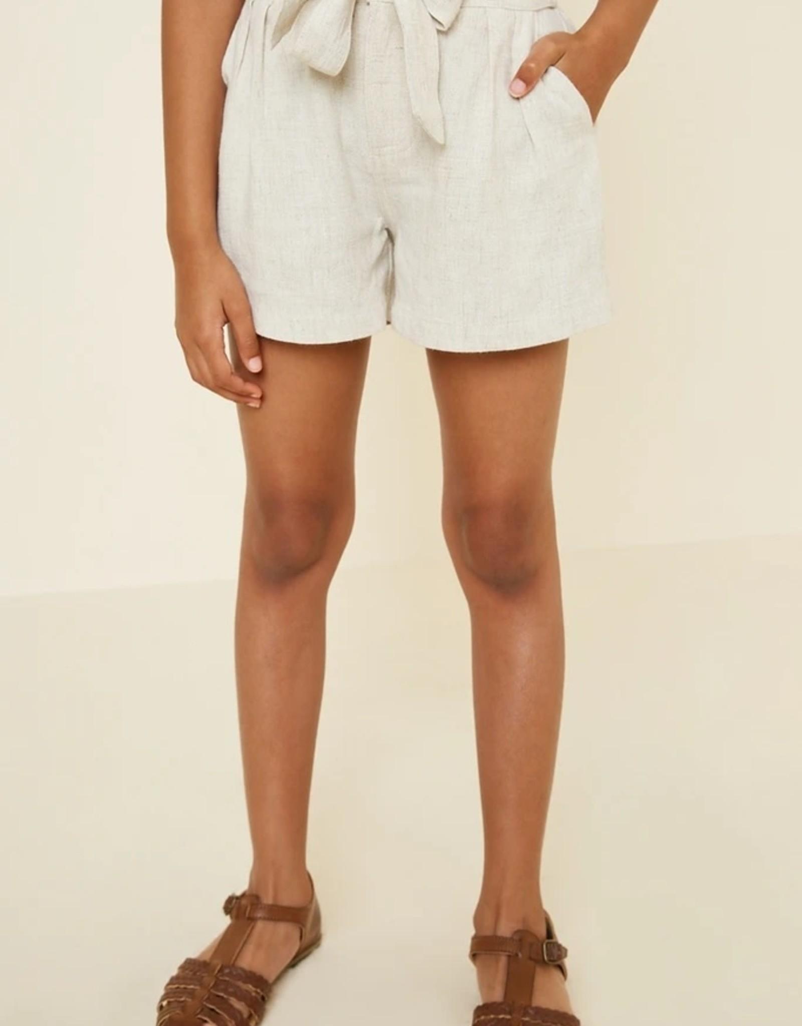 Hayden Los Angeles Girls Linen Tie Front Shorts Tan