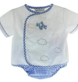 Petit Ami Gingham Diaper Set w/ Airplane Applique
