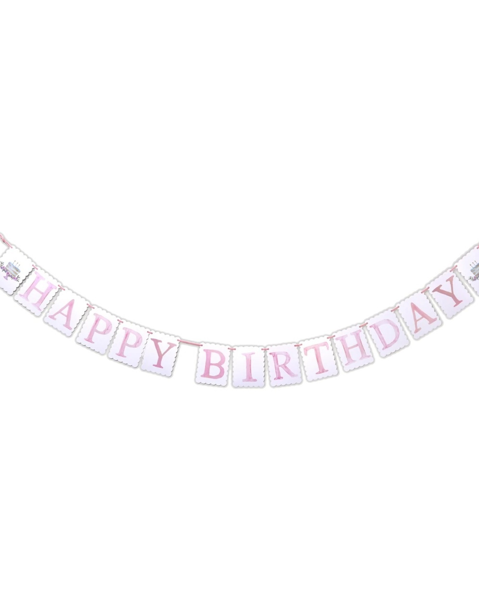 Over The Moon Happy Birthday Banner Pink/Blue Reversible
