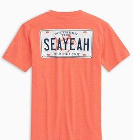 Southern Tide SeaYeah License Plate Tee, Heather Nautical Orange