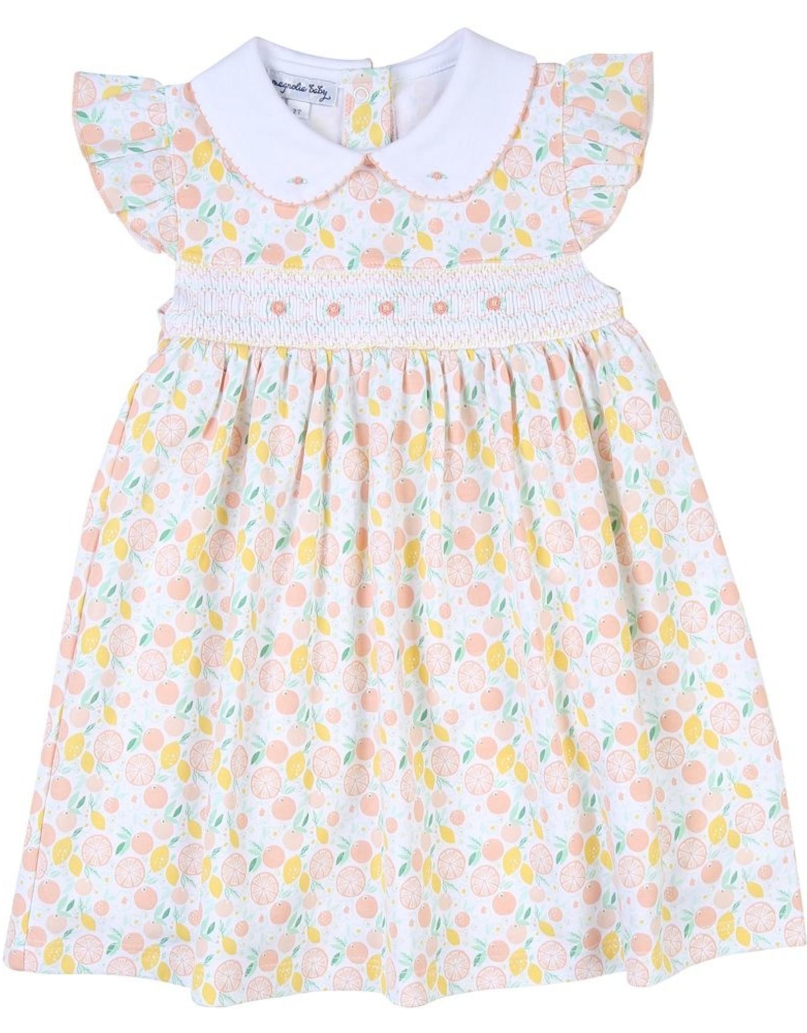 Magnolia Baby Citrus Bouquet Smocked Printed Collar Dress