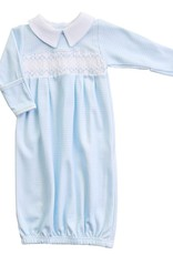 Magnolia Baby Paige & Porter's Smocked Collared Gown Blue Check