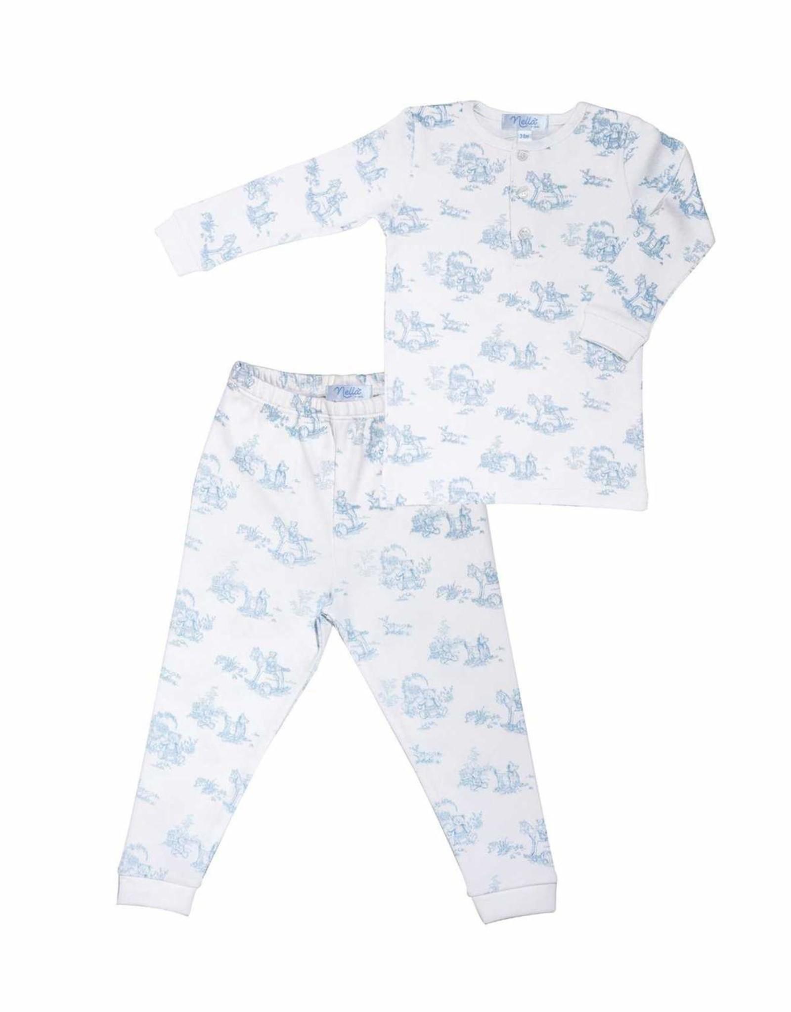 Nella Blue Toile Pajamas
