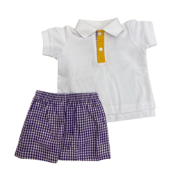 Remember Nguyen Purple/Gold Polo Short Set