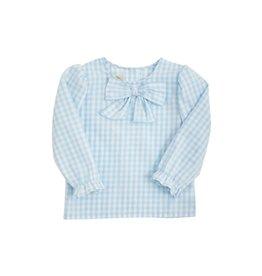 The Beaufort Bonnet Company Beatrice Bow Blouse Onesie Buckhead Blue Gingham