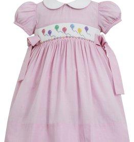 Petit Bebe Birthday Balloons Dress W/ Bows White Collar