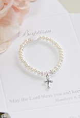 """Collectables 4"""" Fresh Water Pearl Bracelet with SS Cross, Baptism"""