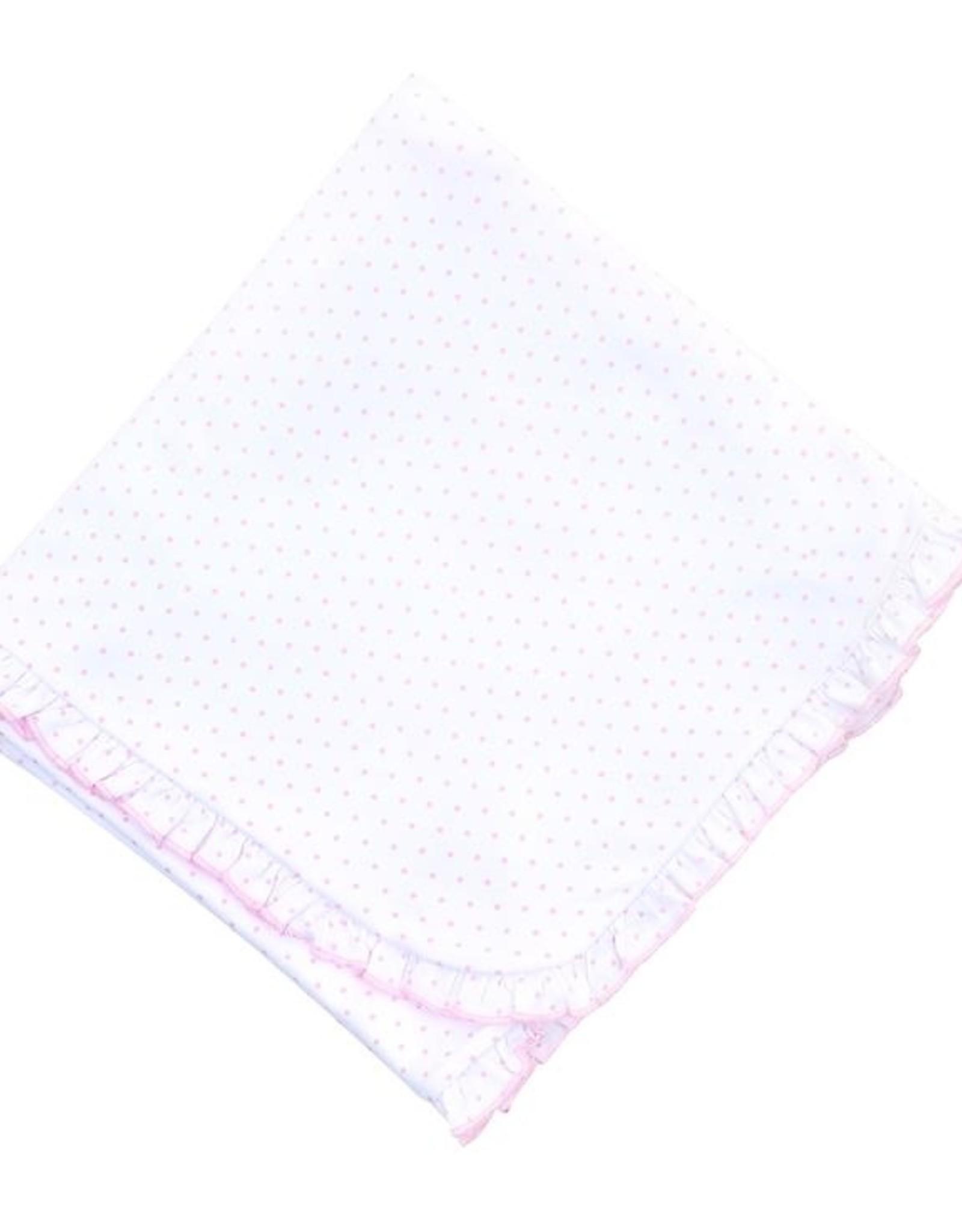 Magnolia Baby Mini Dot Essentials Ruffle Blanket, Pink