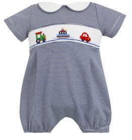 Petit Bebe Transportation Boys Straight Bubble, Navy Blue Stripe Knit