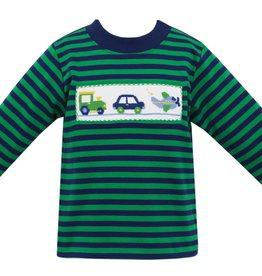 Anavini Transportation Smocked LS Shirt, Navy & Green Stripe