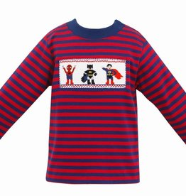 Anavini Super Heroes Smocked LS Shirt, Navy & Red Stripe