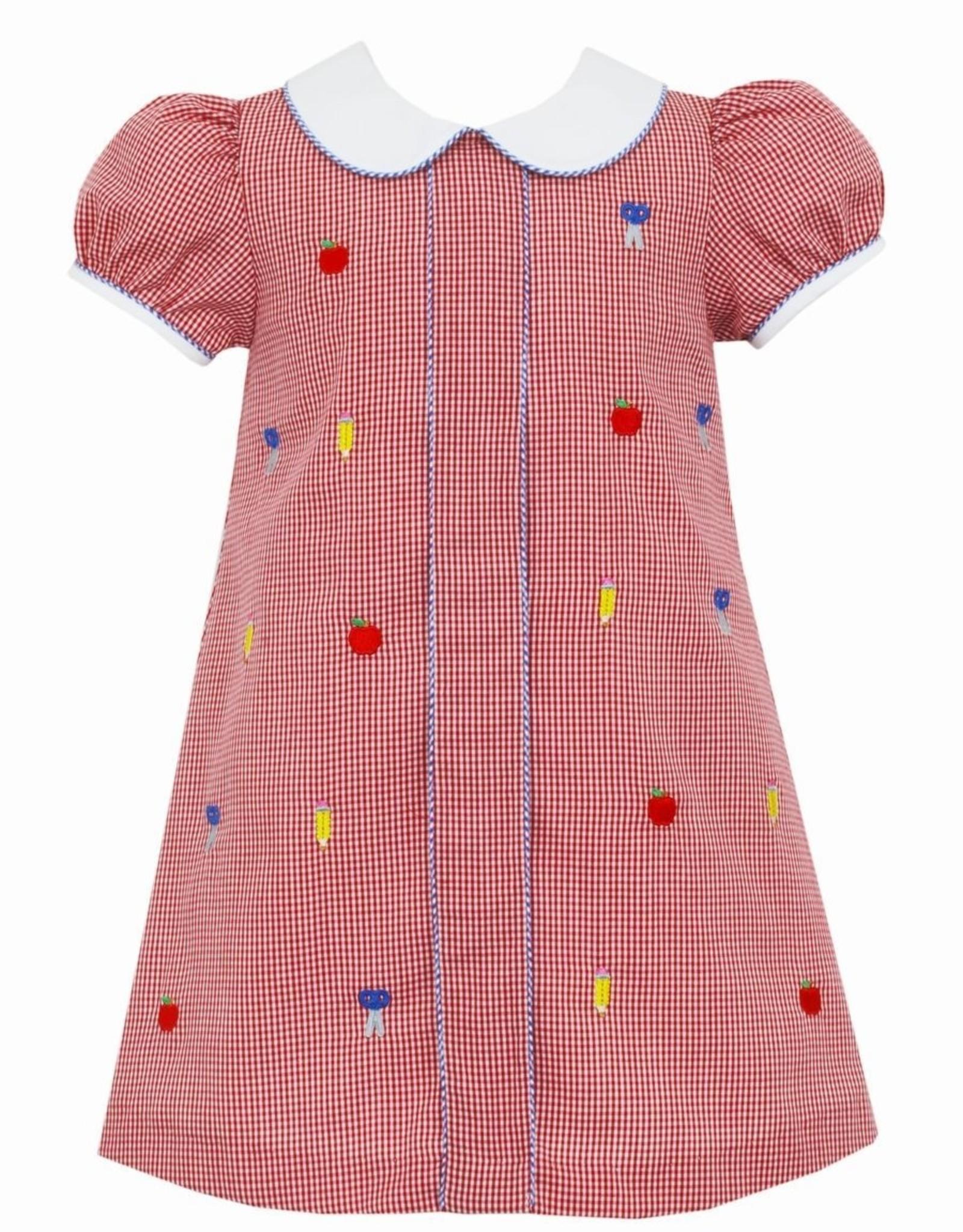 Anavini Back to School Float Dress w/ Collar, Red Mini Check