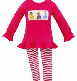 Anavini Princess Smocked Tunic Set, Hot Pink