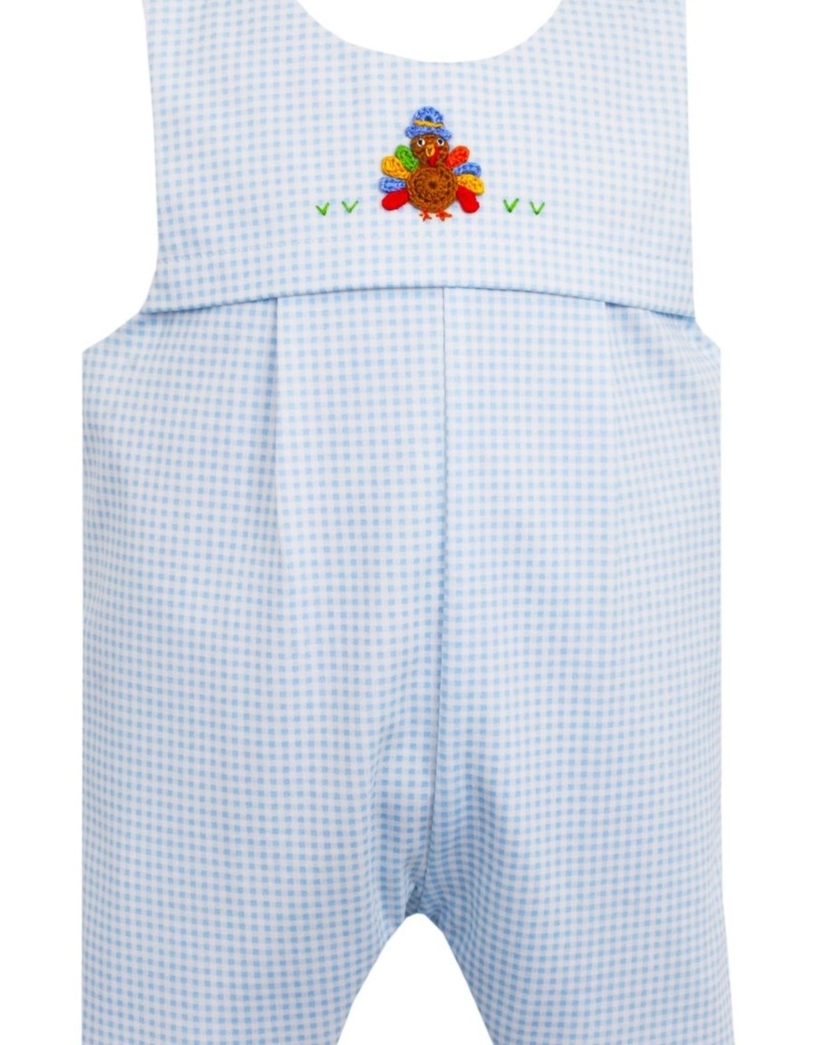 Petit Bebe Lt Blue Mini Check Turkey Knit Jon Jon