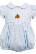 Petit Bebe Girls Lt Blue Mini Check Turkey Knit Bubble