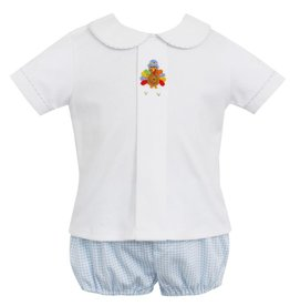 Petit Bebe Boys Lt Blue Mini Check Turkey Knit Diaper Set
