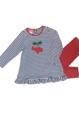 Claire and Charlie Cherries Navy And Red Long Sleeve Legging Set