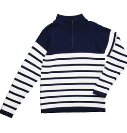 Navy With White Stripe Zip Sweater