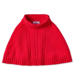 Classic prep Red Chunky Cable Knit Poncho