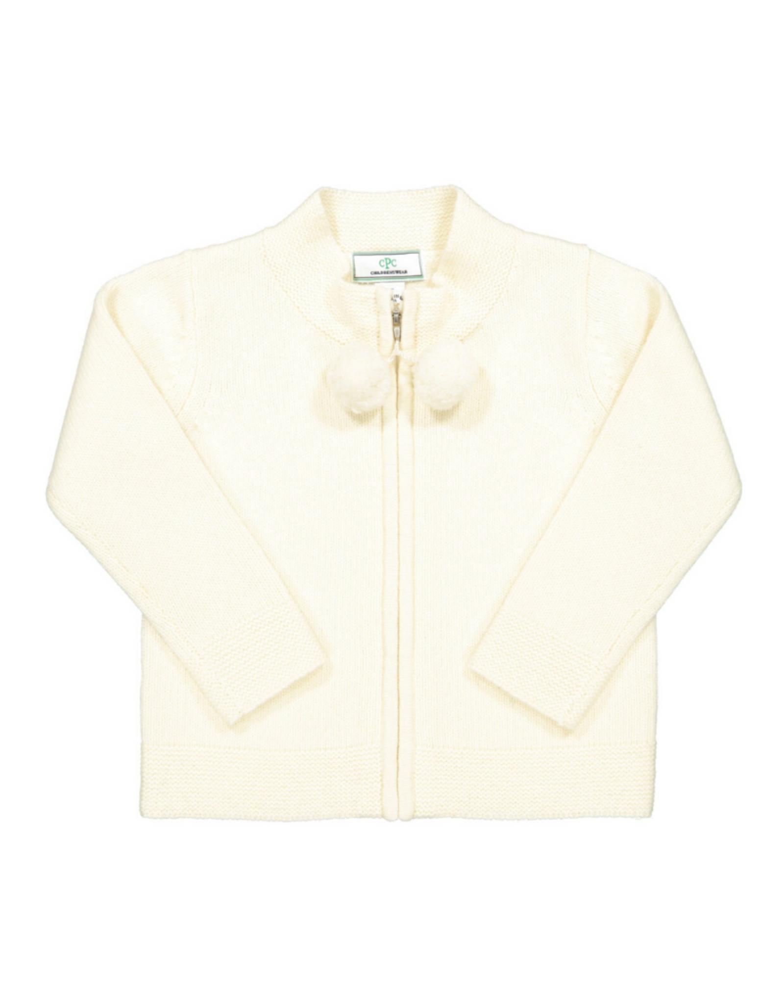 Classic prep Pippa pom sweater ivory