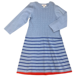 Classic prep Liz mix cable stripe dress blue/navy