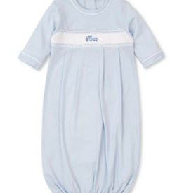 Kissy Kissy Blue Gown with Hand Smocked Train