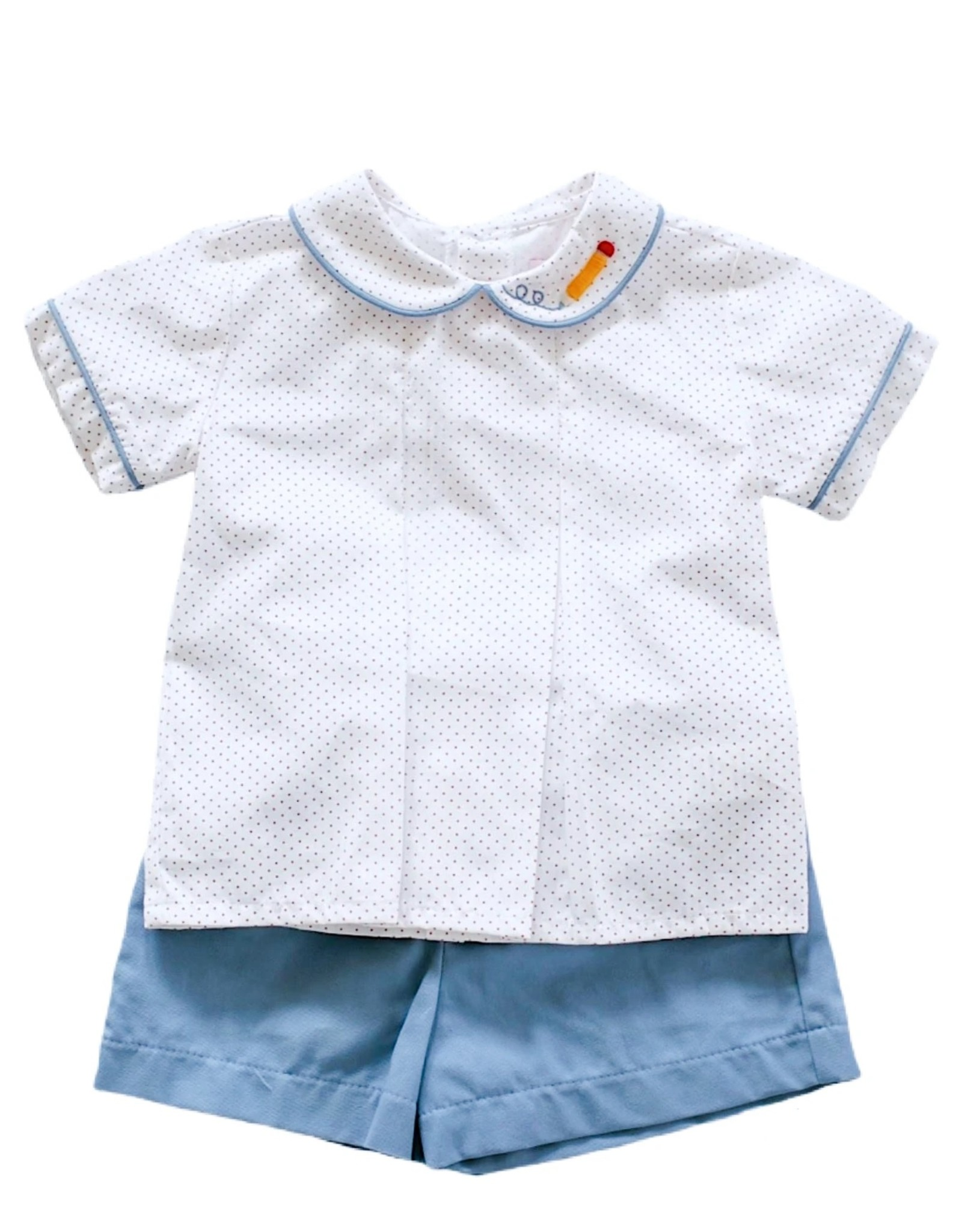Peggy Green Boys Short Set in Red Micro Dot and Pencil Embroidery