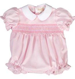 Rosalina English Smocked Bubble with Collar, Pink