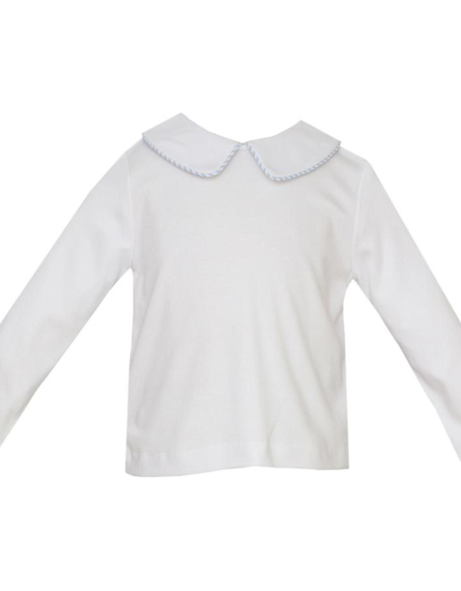 Petit Bebe LS White Knit Collar Shirt w/ Lt Blue Mini Check Piping