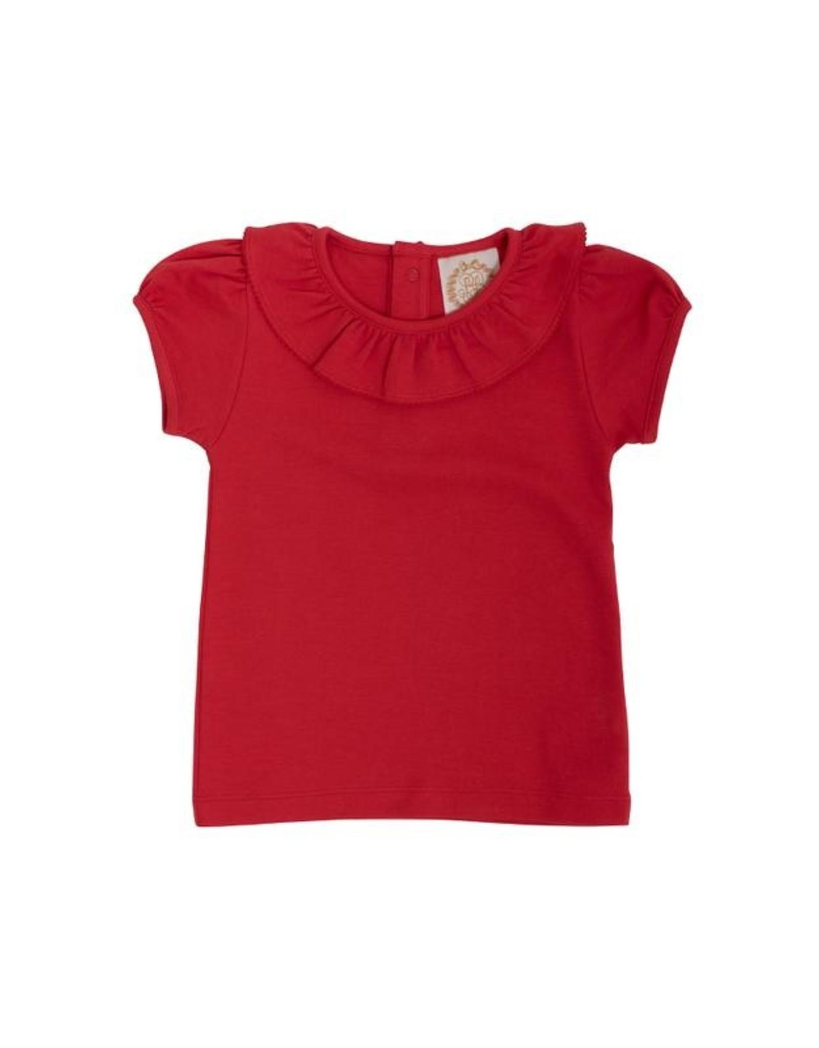 The Beaufort Bonnet Company Ramona Ruffle Collar Shirt, Richmond Red