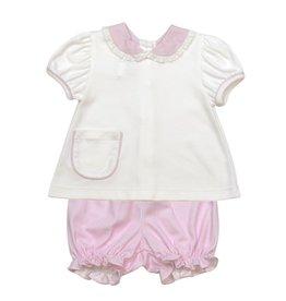 LullabySet Blessings Bloomer Set, White/Pink Mini Gingham Pima
