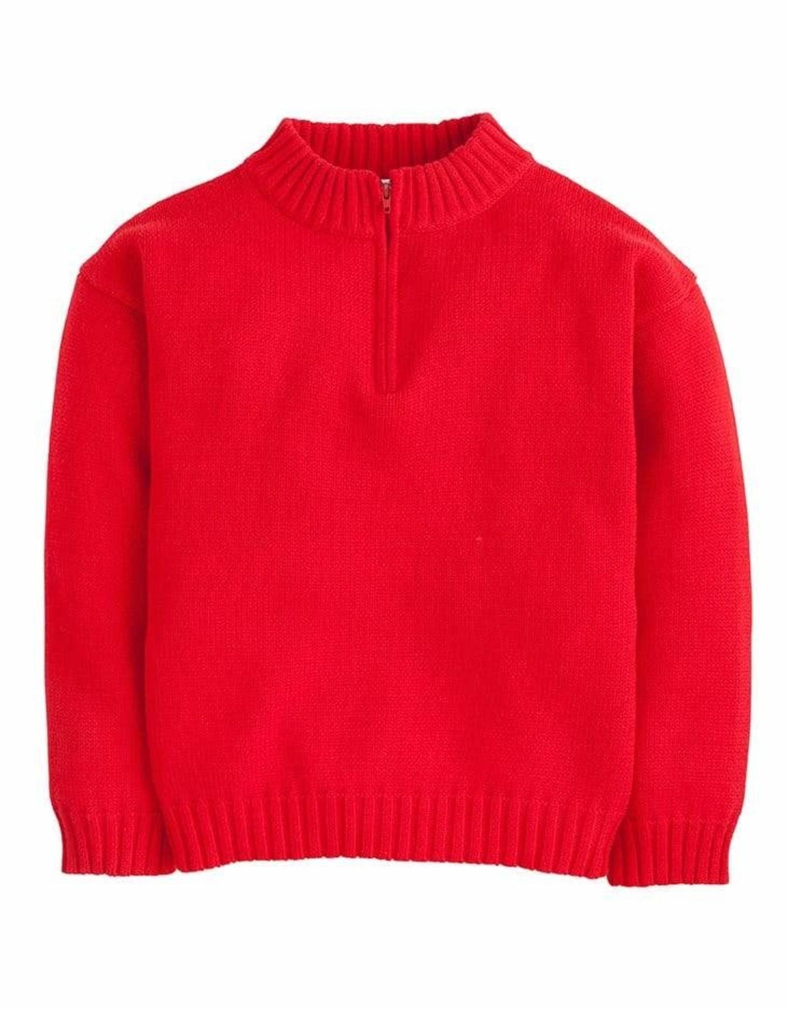 Little English Quarter Zip Sweater, Red
