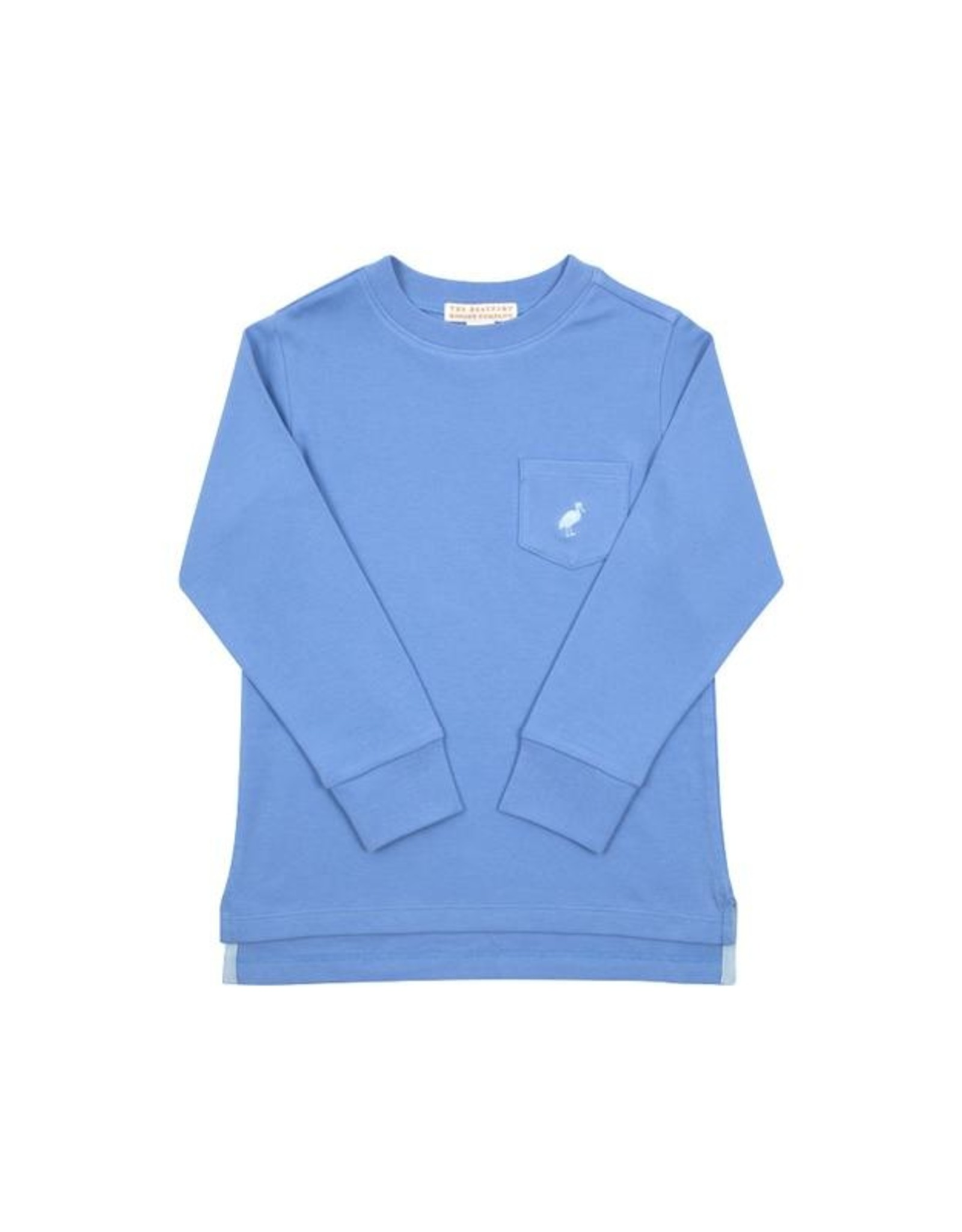 The Beaufort Bonnet Company LS Carter Crewneck With Pocket Barbados Blue