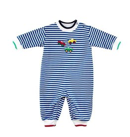 Florence Eiseman Stripe Knit Longall with Monster Trucks