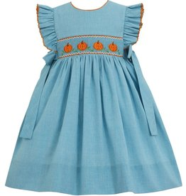 Petit Bebe Turquoise Micro Check Dress with Smocked Pumpkins