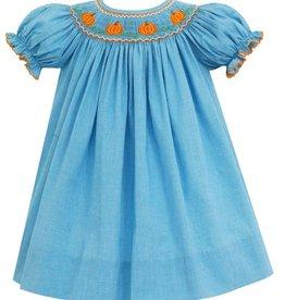 Petit Bebe Turquoise Micro Check Bishop Dress with Smocked Pumpkins