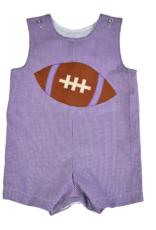 Funtasia Too Purple Gingham Shortall with Football Applique