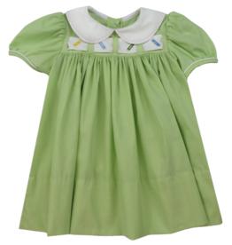 LullabySet Ruth Ribbon Dress, Green - Pumpkin, Wreath, Crayon, Hearts