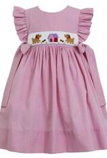 Petit Bebe Puppies House Dress Pink Check