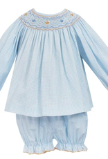 Petit Bebe Harper Bishop L/S Bloomer Set Blue/Orange Smocking
