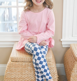 James and Lottie Sally Scalloped Legging Set, Pink Top w/ Patterned Leggings
