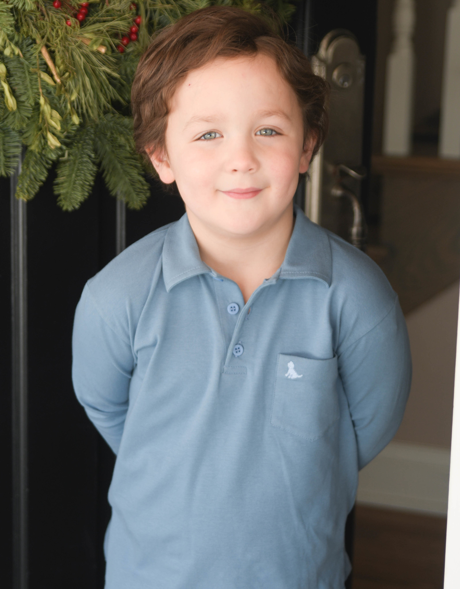 James and Lottie Blue Long Sleeve Knit Polo