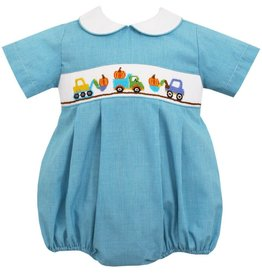 Petit Bebe Construction Pumpkins Bubble in Turquoise Micro Check