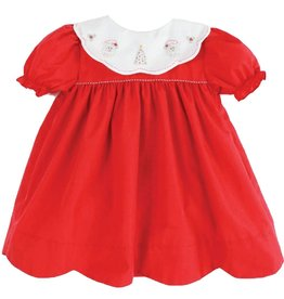 Petit Ami Red Christmas Dress with Santa & Christmas Tree Collar
