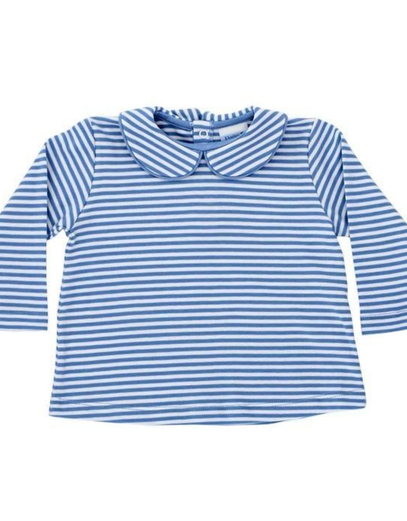 The Bailey Boys Button Back Knit Shirt, Blue Stripe
